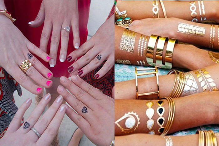 custom wedding tattoos of brides and bridesmaids