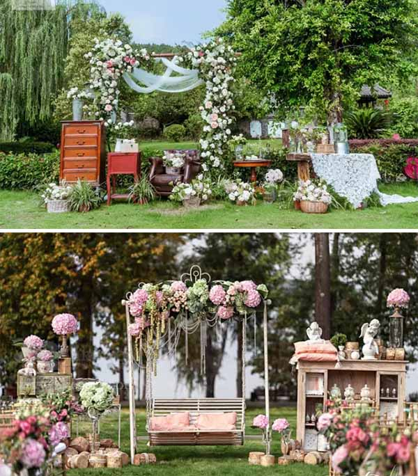 decorated wedding photo area as garden