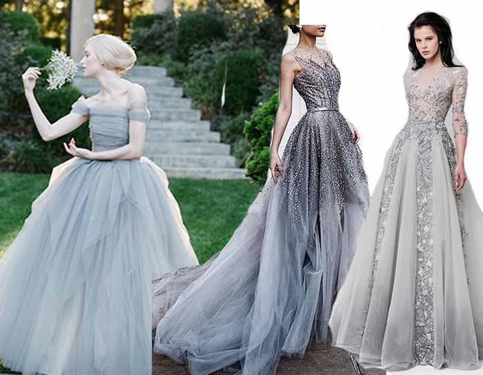 delicate grey wedding gowns