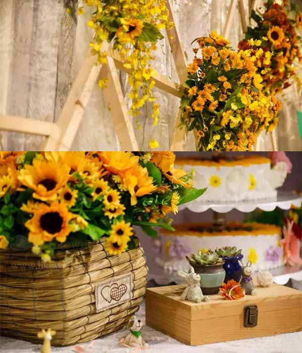 Details Of Bright Vibe Sunflowers Wedding Decorations