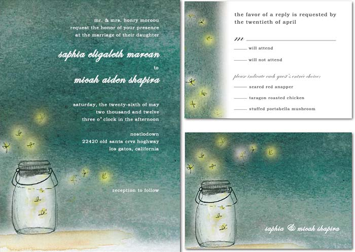 fireflies wedding invitations for starry night wedding - Starry Night Wedding Invitations