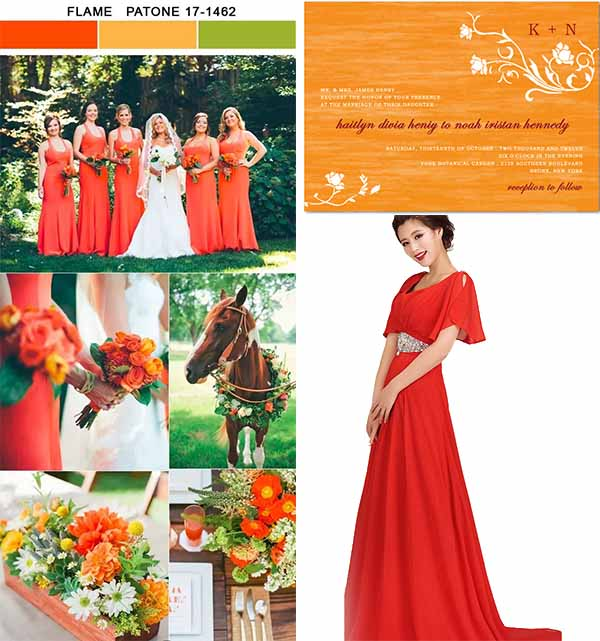 flame color wedding party inspirations