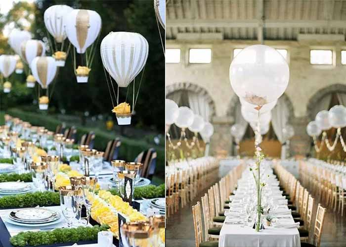 flying fire balloon decorated wedding table