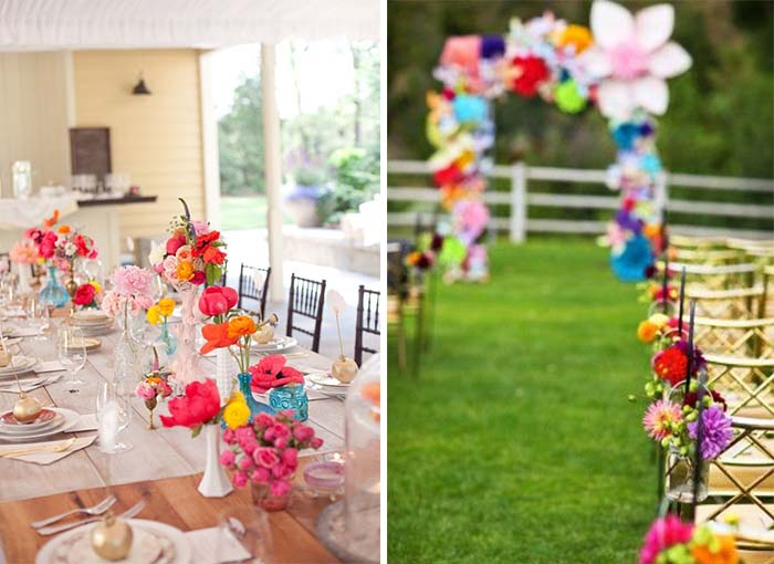 funny and beautiful colorful wedding