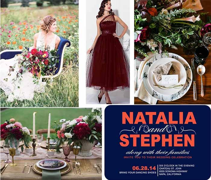 garnet wedding color palette