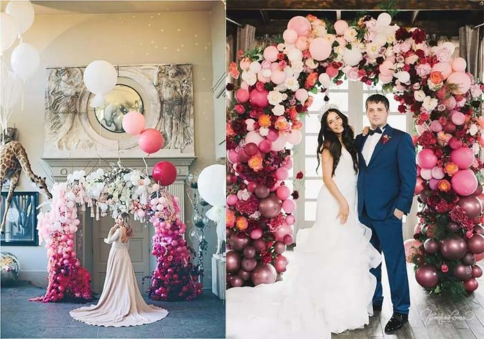 gorgeous arch made with balloons and flowers
