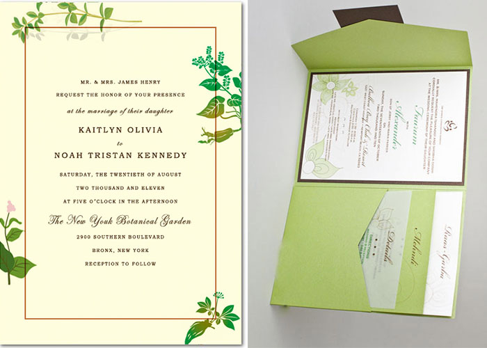 green wedding invitations for spring wedding