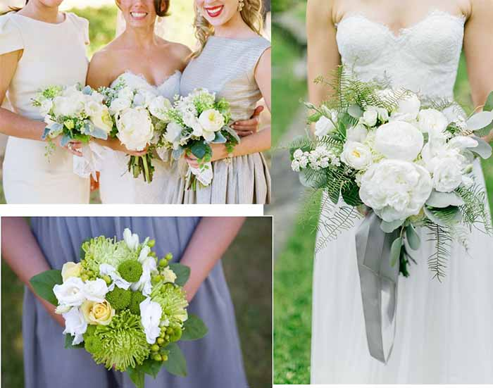 grey and green wedding flowers