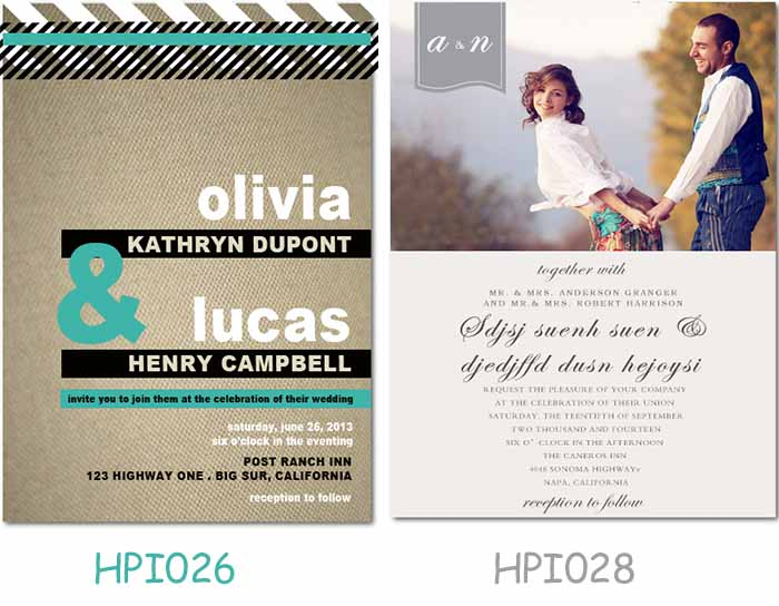 grey and green wedding invitations