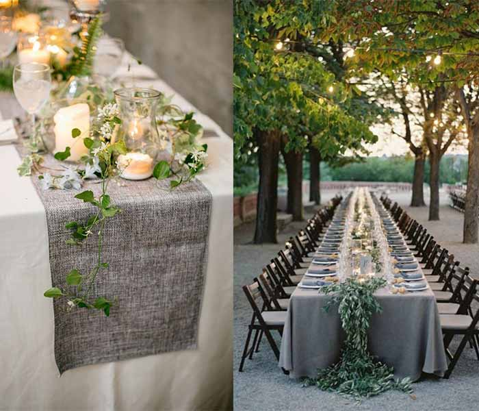 grey and green wedding party