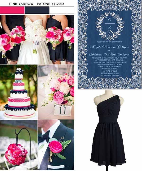 pink yarrow color wedding inspiration