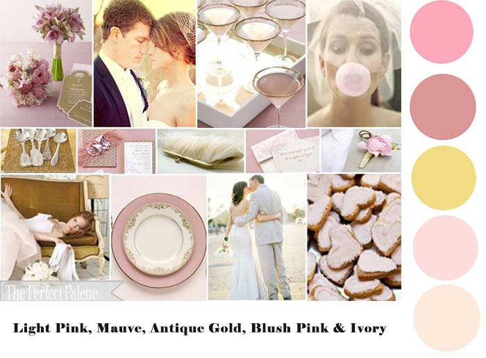 light pink mauve antique gold blush pink and ivory color palette