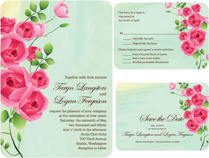 lively rose wedding invitations
