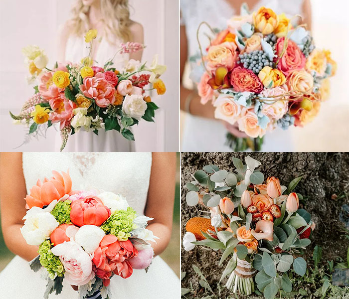 living coral color in wedding bouquets