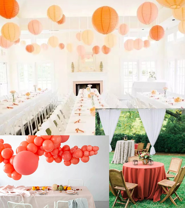 living coral color wedding table decoration ideas