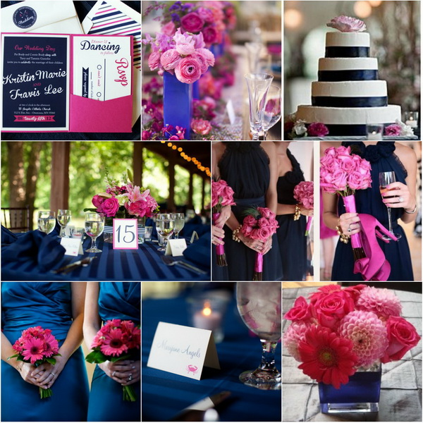 Navy blue wedding ideas for fall 2014 happyinvitation for Navy blue and pink wedding