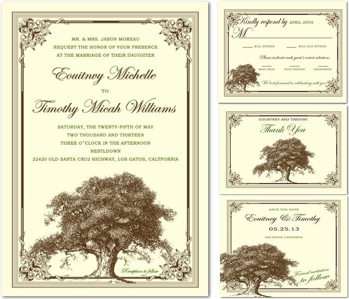 old tree vintage wedding invitation