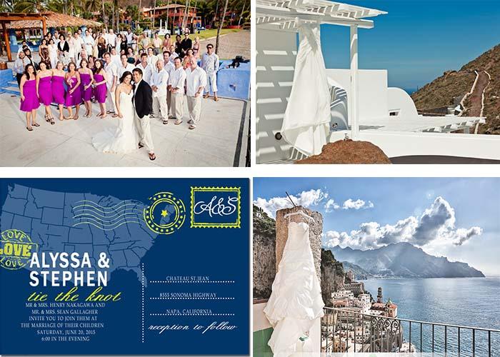 order wedding dress bridesmaid dress and wedding invitation for destination wedding