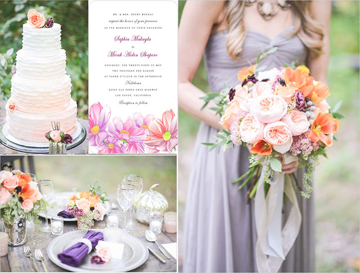 Peach And Purple Wedding