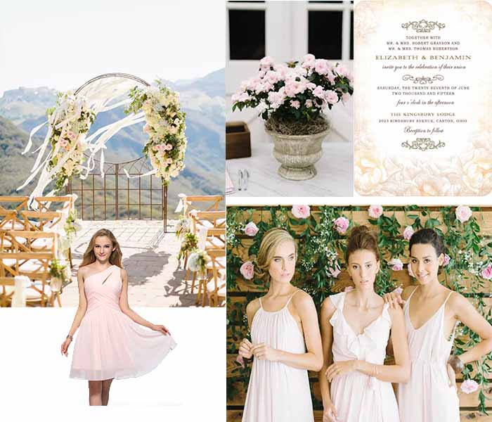 pink and ivory wedding color palette