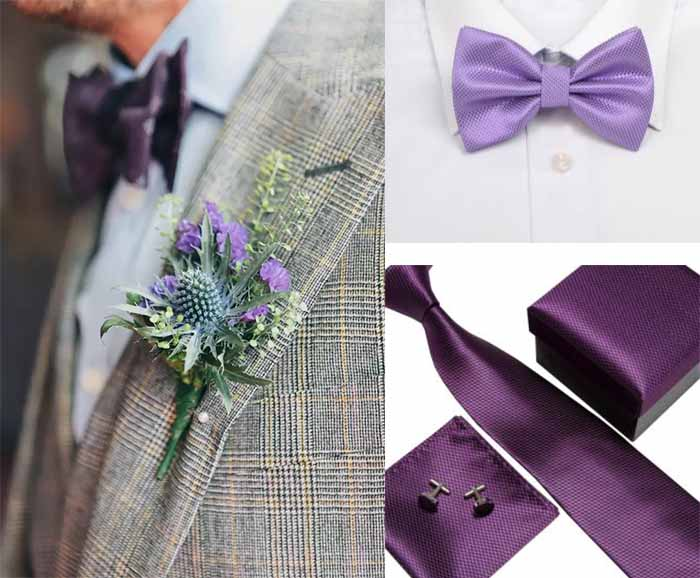 purple acc of groom