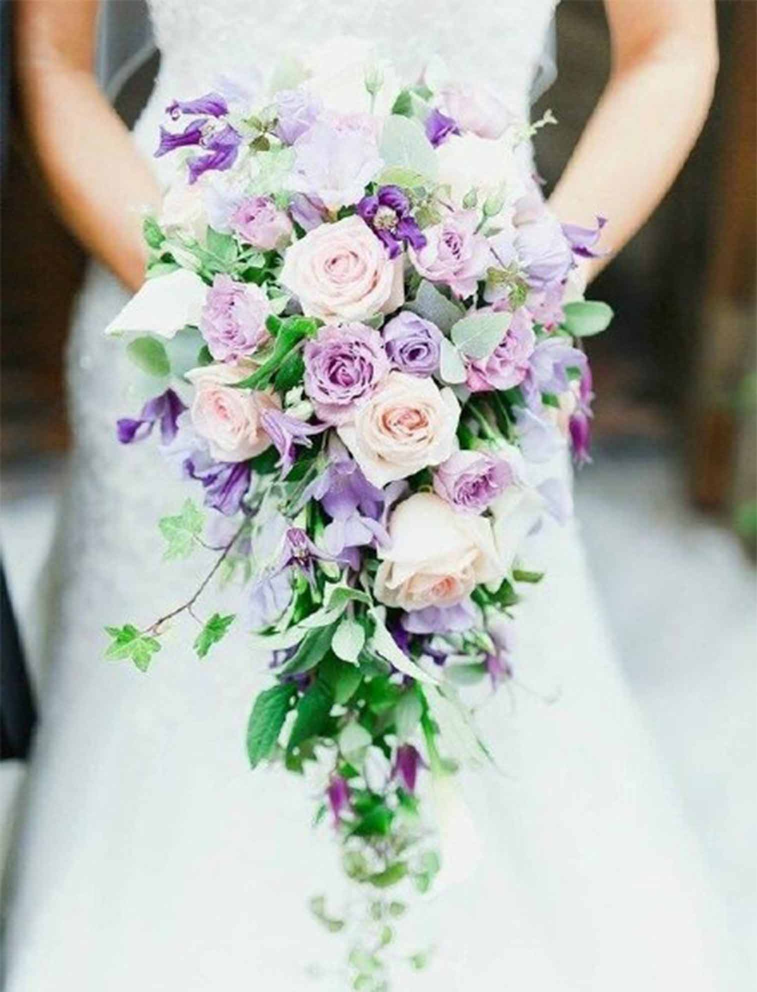 purple and pink wedding bouquets