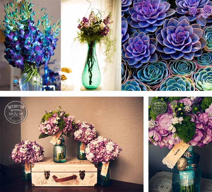 purple and teal wedding flowers