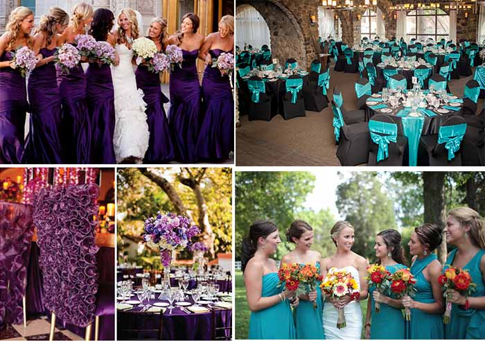 purple wedding and teal wedding