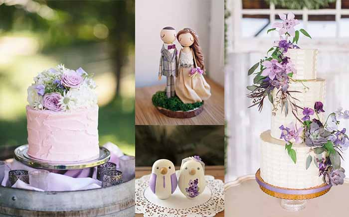 purple wedding cakes and topper