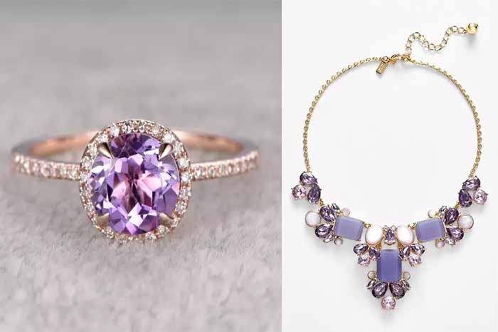 purple wedding ring and jelwery