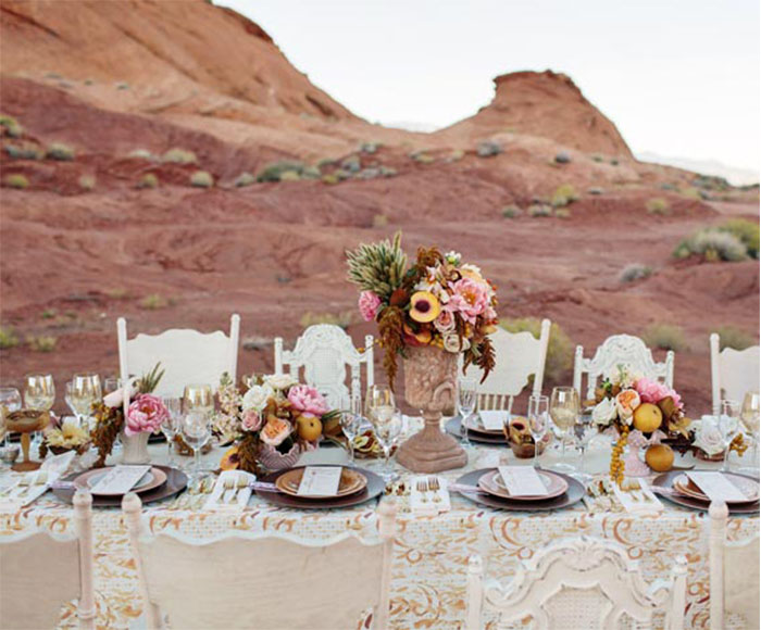 rose color themed wedding party