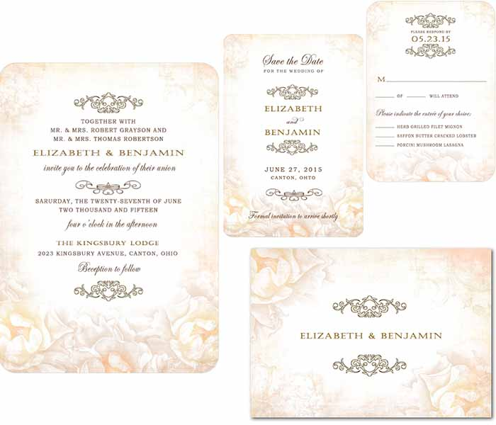 rose garden wedding invitations stationery
