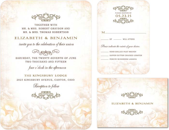 Rose Garden Weding Invitations For Victorian Wedding