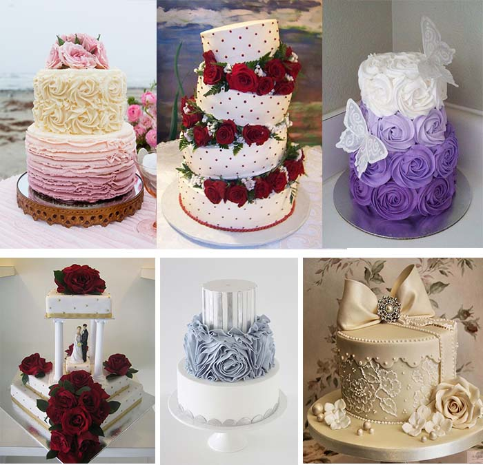 Rose Themed Wedding Cakes