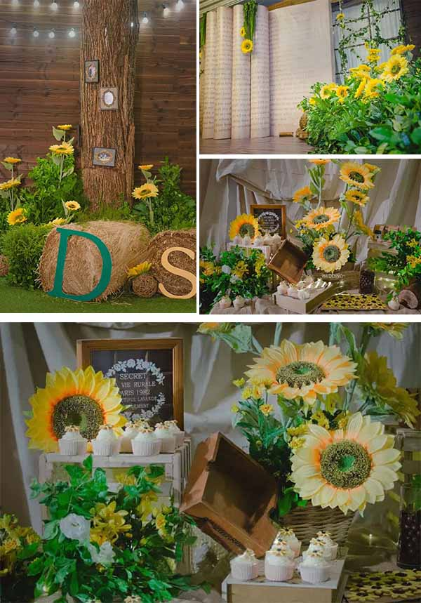 rustic wedding sunflowers decorations