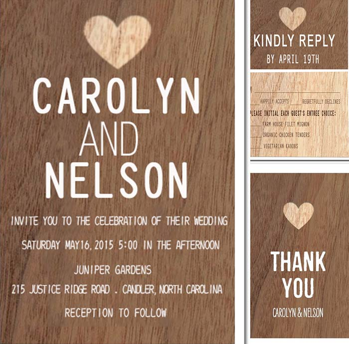 rustic wooden background wedding invitations