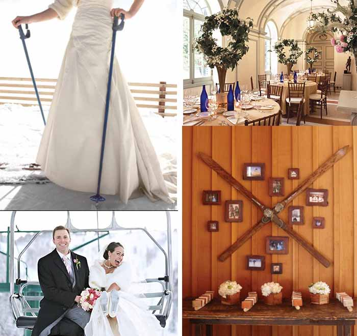 ski themed winter wedding party