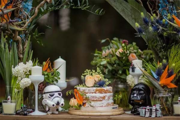 star war elements on the desert table