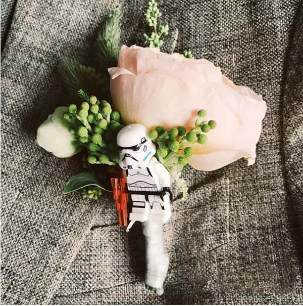 star war groom corsage