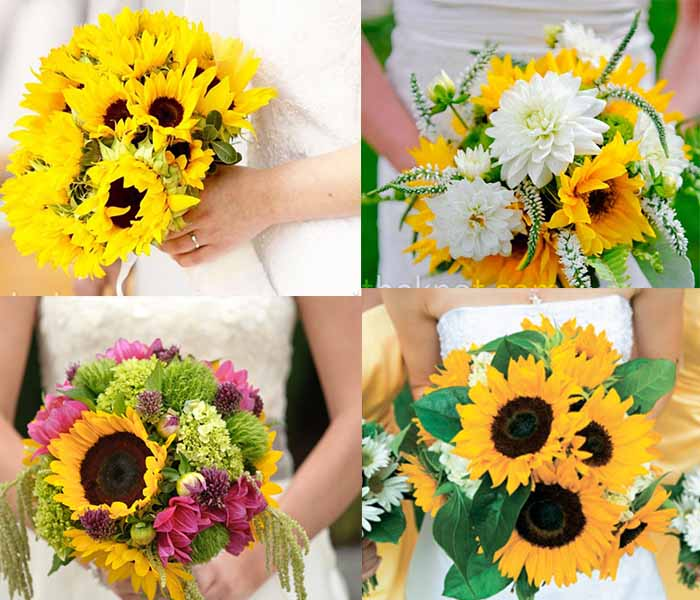 bridal's sunflower bouquets