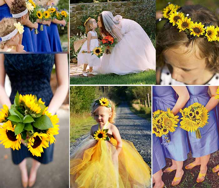 sunflowers for bridesmaid and flower girls