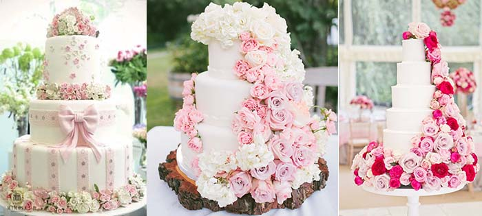 sweet pink color wedding cakes