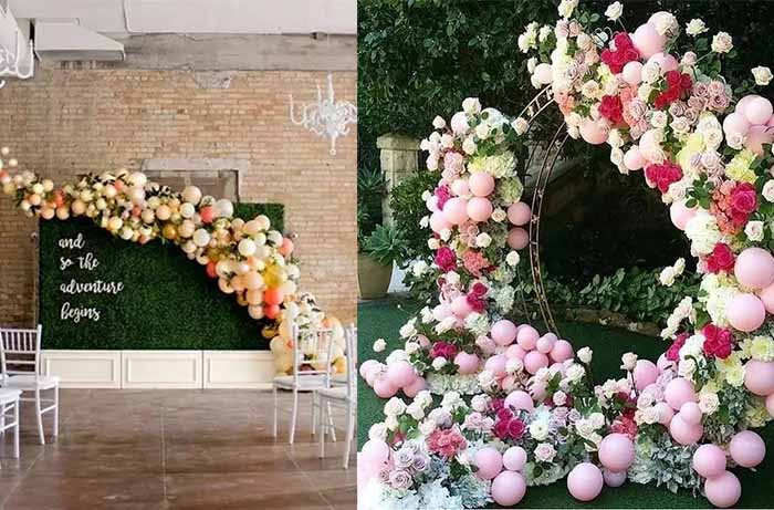 unique balloon decorated wedding background