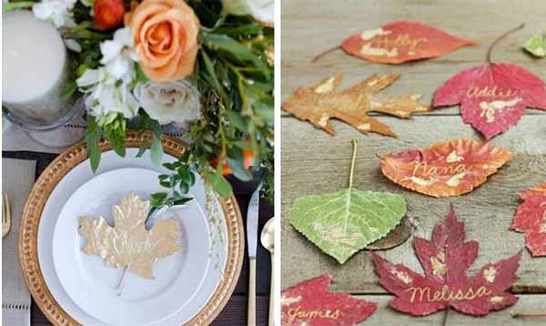 leaves wedding table cards