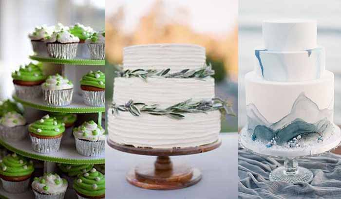 wedding cakes for grey and green wedding party