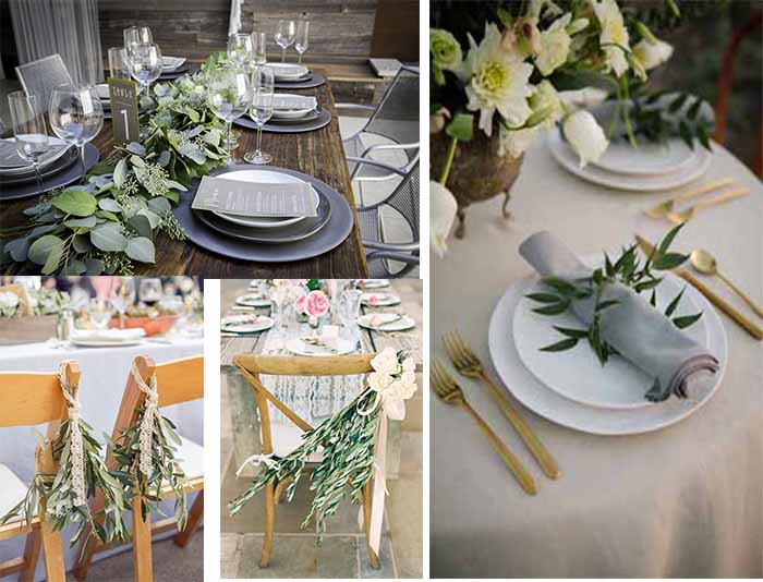 wedding decoration of grey and green wedding party
