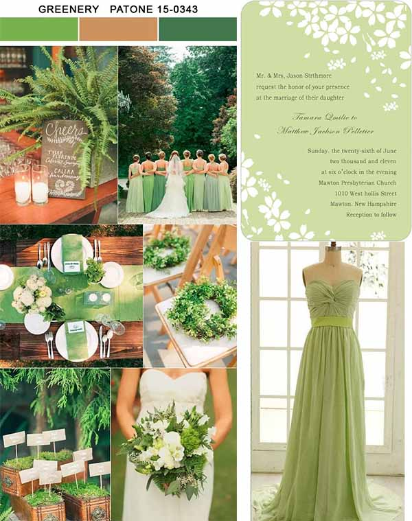 wedding inspirations of greenery wedding party