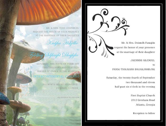 wedding invitation for alice in wonderland wedding - Alice In Wonderland Wedding Invitations