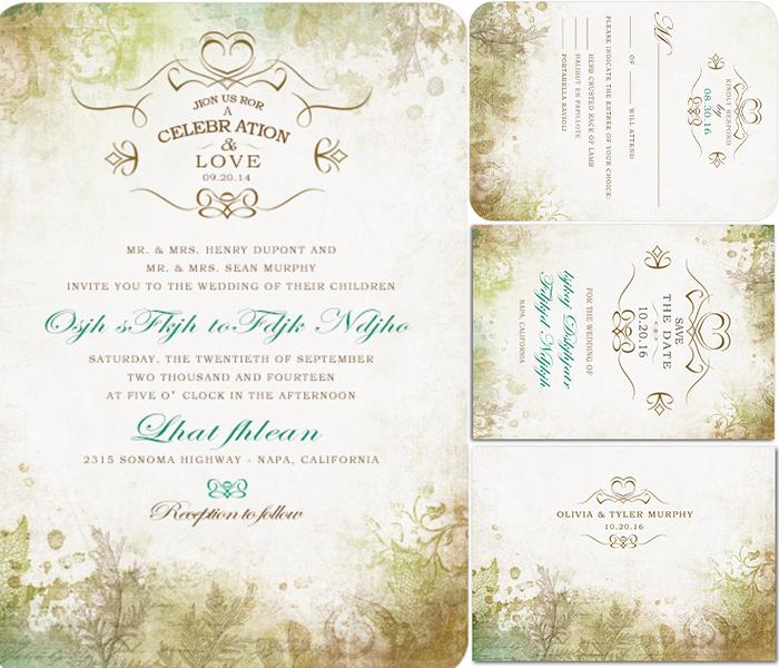 wonderland vintage wedding invitation