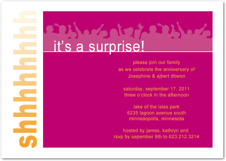 Cheer Up Surprise Anniversary Invitations HPA183